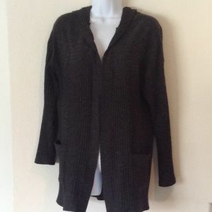 Ribbed charcoal gray hooded cardigan